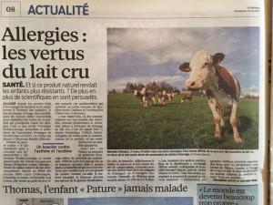 Le Parisien parle des vertus du lait cru