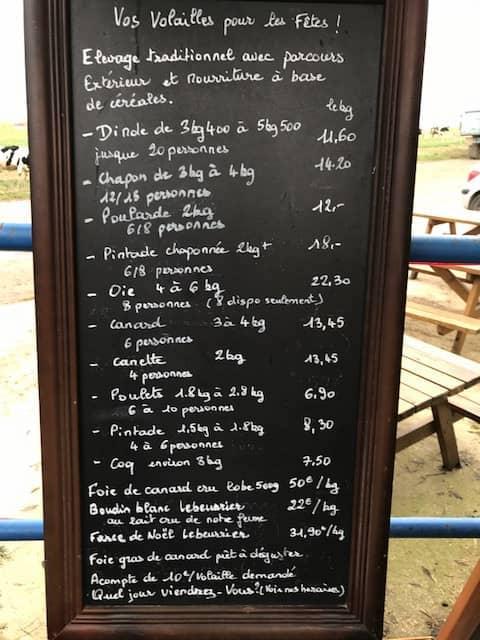 Tableau de prix de volailles